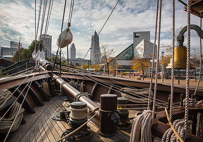 Wooden Ships Photograph - Cleveland From The Deck Of The Peacemaker by Dale Kincaid