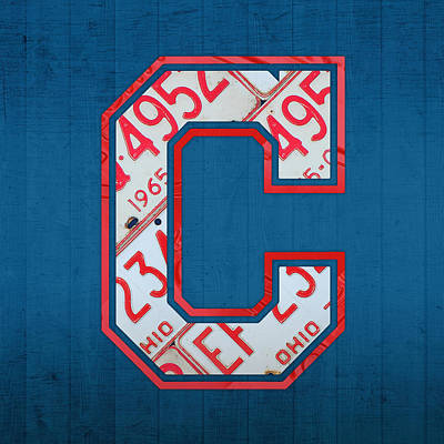 Baseball Art Mixed Media - Cleveland Indians Baseball Team Vintage Logo Recycled Ohio License Plate Art by Design Turnpike