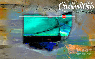 Cleveland Ohio Map Watercolor Print by Marvin Blaine