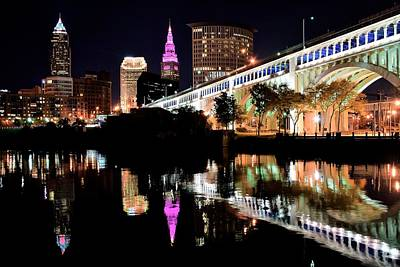 Cleveland Ohio Reflects Print by Frozen in Time Fine Art Photography