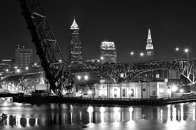 Black Commerce Photograph - Cleveland Shining Bright by Frozen in Time Fine Art Photography
