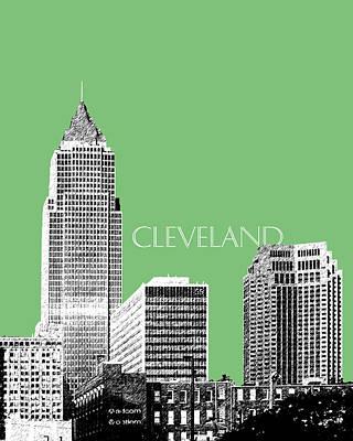 Pen Digital Art - Cleveland Skyline 2 - Apple by DB Artist
