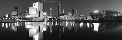 Cleveland Skyline At Dusk Black And White Print by Jon Holiday