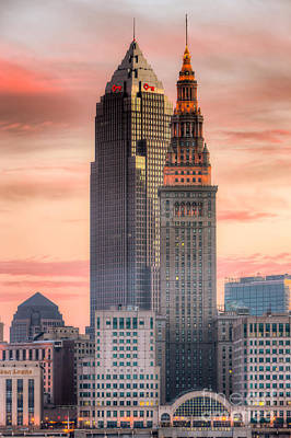 Cleveland Skyscrapers At Dawn I Print by Clarence Holmes