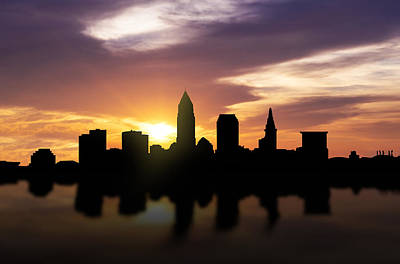 Panoramic Mixed Media - Cleveland Sunset Skyline  by Aged Pixel