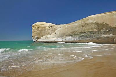 Cliffs At Tunnel Beach, Dunedin, South Print by David Wall