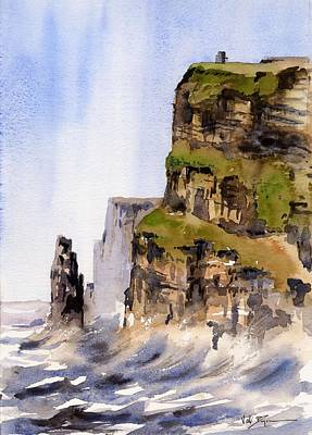 Tour Ireland Painting - Clare   The Cliffs Of Moher   by Val Byrne
