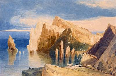 Seagull Drawing - Cliffs On The North East Side Of Point by John Sell Cotman