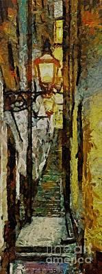 Paris Painting - Climbing Stairs Of Paris by Dragica  Micki Fortuna