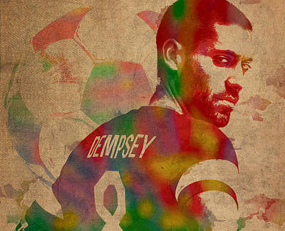 Soccer Mixed Media - Clint Dempsey Soccer Player Usa Football Seattle Sounders Watercolor Portrait On Worn Canvas by Design Turnpike