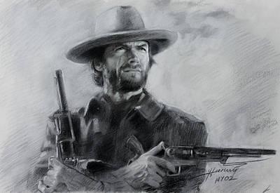 Clint Drawing - Clint Eastwood by Viola El