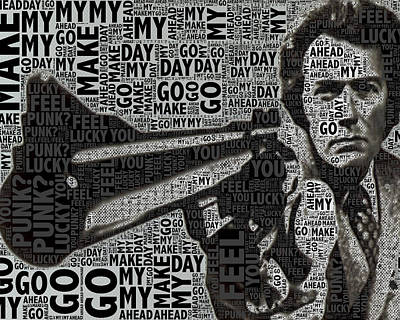 Oil Mixed Media - Clint Eastwood Dirty Harry Crop by Tony Rubino