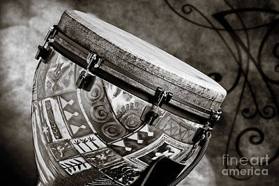 Congas Photograph - Clissic Djembe African Drum Photograph In Sepia 3334.01 by M K  Miller