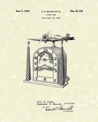 Enclosure Drawing - Clock Case 1932 Patent Art by Prior Art Design