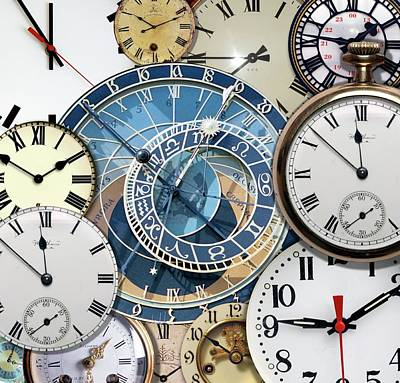 Clock Faces Print by Victor De Schwanberg