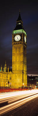 Clock Tower Lit Up At Night, Big Ben Print by Panoramic Images