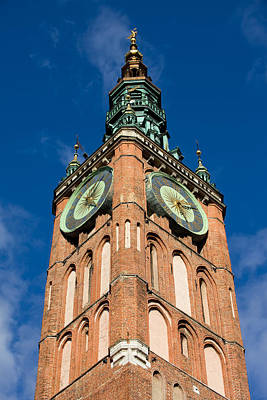 Clock Tower Of Main Town Hall In Gdansk Print by Artur Bogacki