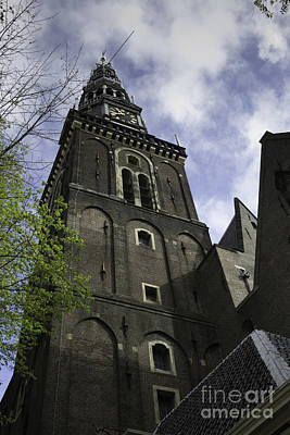 Weathervane Photograph - Clock Tower Oude Kerk Amsterdam by Teresa Mucha