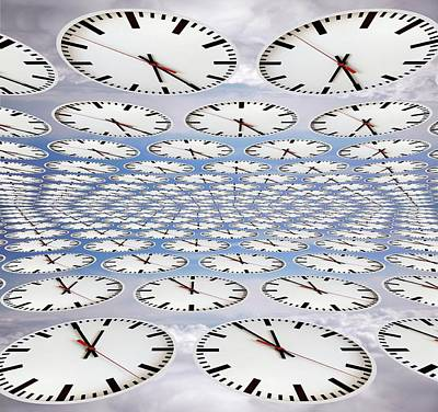 Repetition Photograph - Clocks by Victor De Schwanberg
