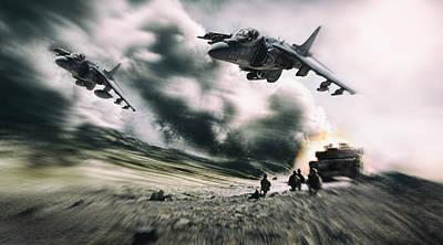 Harrier Digital Art - Close Air Support by Peter Chilelli