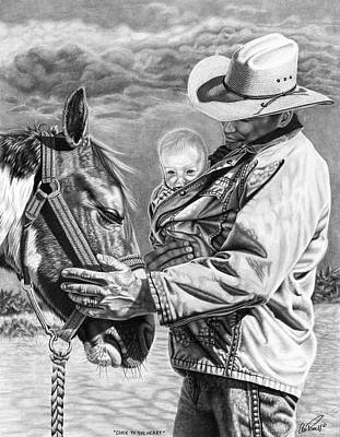 Father And Son Drawing - Close To The Heart by Glen Powell
