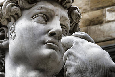 Close-up Face Statue Of David In Florence Print by David Smith