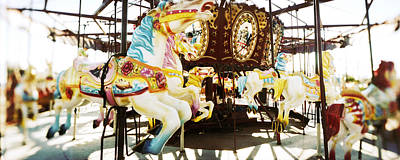 Close-up Of Carousel Horses, Coney Print by Panoramic Images