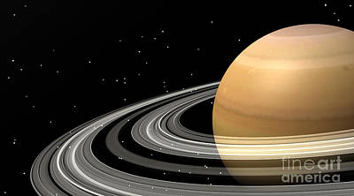 Rendition Digital Art - Close-up Of Saturn And Its Planetary by Elena Duvernay
