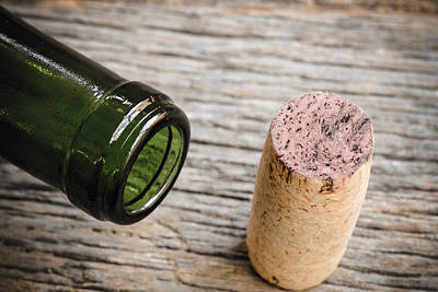 Wine Bottle Photograph - Close Up Of Wine Bottle And Cork by Brandon Bourdages