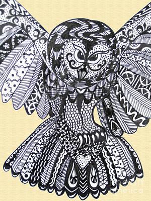 Close Up Owl Cream Print by Karen Larter