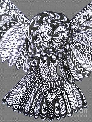 Close Up Owl Grey Print by Karen Larter