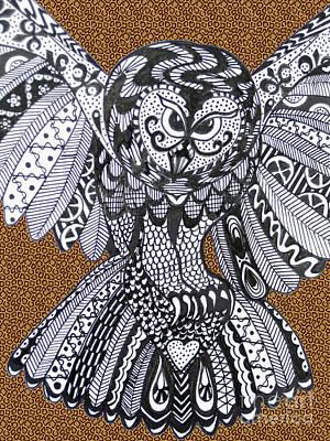Close Up Owl Leopard Print by Karen Larter