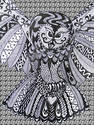 Close Up Owl Pattern Print by Karen Larter
