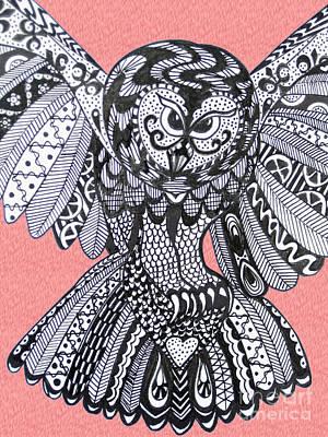 Close Up Owl Pink Print by Karen Larter