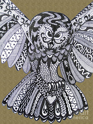 Close Up Owl Sand Print by Karen Larter