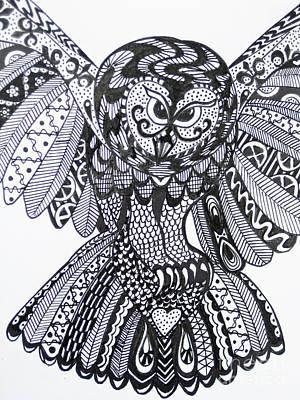 Close Up Owl White Print by Karen Larter