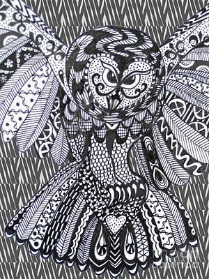 Close Up Owl Zebra Print by Karen Larter