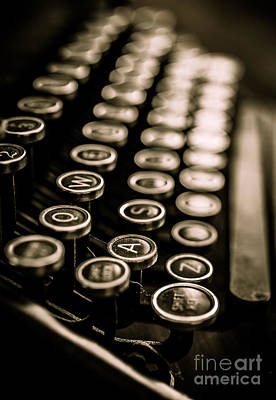 Typewriter Photograph - Close Up Vintage Typewriter by Edward Fielding