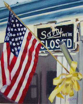 Iraq War Painting - Closed For Business by Joe White