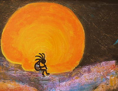Native American Symbols Painting - Closer View Kokopelli On A Marmalade Moon Night by Anne-Elizabeth Whiteway