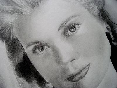 Grace Kelly Drawing - Closeup Of Grace Kelly 2 by Emily Maynard