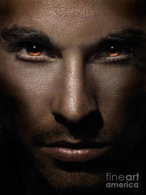 Closeup Of Man Face With Shining Fierce Eyes Print by Oleksiy Maksymenko