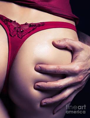 Closeup Of Man Hand On Sexy Woman Buttocks Print by Oleksiy Maksymenko