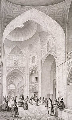 Perspective Painting - Cloth Market In Isfahan by Pascal Xavier Coste