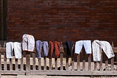 Clothes Drying In Durbar Square In Patan Nepal Print by Robert Preston