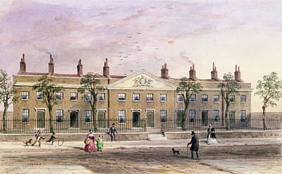 Clothworkers Almhouses In Frog Lane Wc On Paper Print by Thomas Hosmer Shepherd