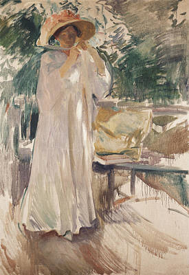 Clothes Clothing Painting - Clotilde In Her Garden by Joaquin Sorolla y Bastida