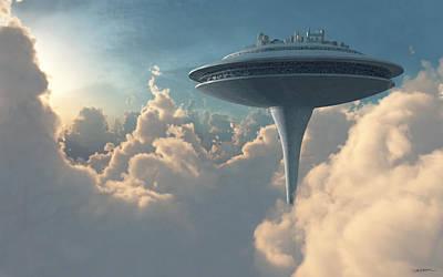 Futuristic Digital Art - Cloud City by Cynthia Decker