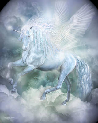 Extinct And Mythical Mixed Media - Unicorn Cloud Dancer by Carol Cavalaris