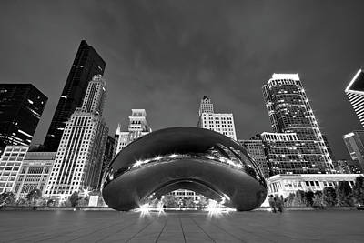 Black And White Photograph - Cloud Gate And Skyline by Adam Romanowicz